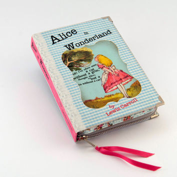 Blue and Pink Alice in Wonderland Book Clutch
