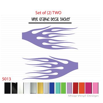 Flames Vinyl Graphic Decal Sticker  - STYLE F5013 - Set of (2)