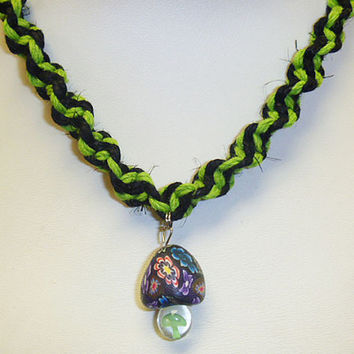 Handmade Black and Lime Green Hemp Necklace with Fimo Glass Mushroom Pendant handmade macrame jewelry guys mens unisex