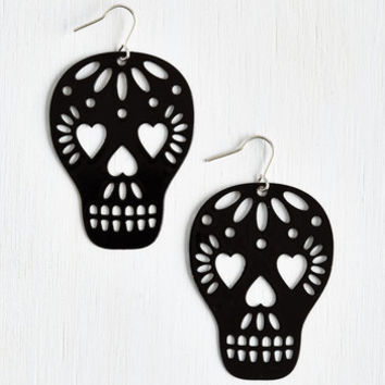 ModCloth Statement Too Close to Skull Earrings