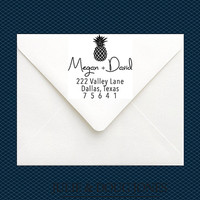 Pineapple Address Stamp - Pineapple Stamp - Return Address Stamp - Custom Wedding Stamp - Large Stamp - Preppy Stationery Stamp