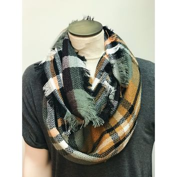 Snow Day, Plaid Print Infinity Scarf