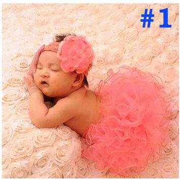 Baby tulle Tutu and Headband Set Newborn Coral tulle Tutu Little Girl Easter Photography Prop