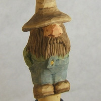 Hand Carved Wood Hillbilly Rufus Bottle Stopper