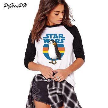 Women's Long Sleeve T-shirt 2018 Autumn Spring Cotton Tee Shirt Homme Star Wars Porg Print Tshirt Femme Big Size Clothes