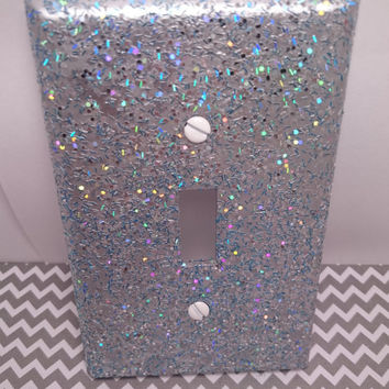 Metallic Silver w/ Holographic Silver Opal & Blue Glitter ~ Bling Light Switch Plates, Rockers, Outlet Covers, Plugs ~ Shiny Sparkly Décor