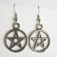 Pentacle Earrings, Silver Pentagram Earrings, Supernatural Pentacle Jewelry, Personalized Birthstone Earrings, Pagan Earrings, Wicca