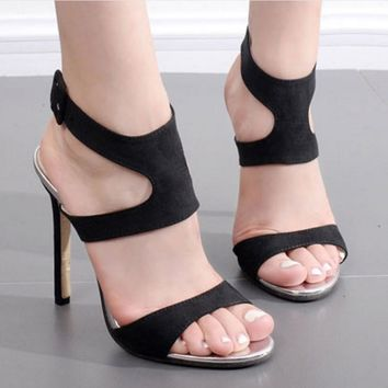 Solid Color Ankle Wrap Open Toe Stiletto High Heels Sandals