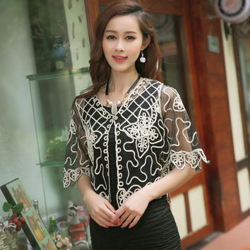 Summer 2016 Women Knitted Cardigan Elegant Perspective Lace Coat Gauze Lacing Boleros Small Chiffon Shawl High Quality