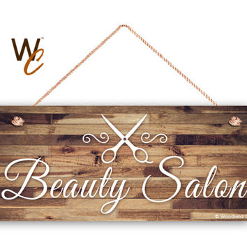 """Beauty Salon Sign, Company Sign, Business Sign, 6""""x14"""" Sign, Rustic Decor, Salon Door Sign, Made To Order"""