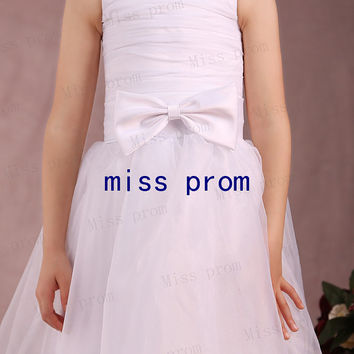 Organza tiered with satin edage pleated with bow flower girl dress