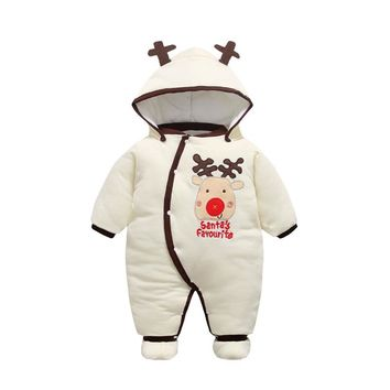 Winter Newborn Baby Clothes Cartoon Animal Style Infant Baby Romper Cotton-padded Baby Girl Clothes Baby Boy Overalls 2017 New