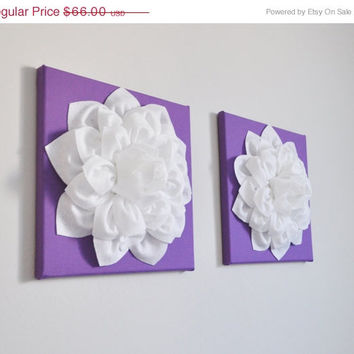MOTHERS DAY SALE Two Large Flower Wall Hangings - White Dahlias on Lavender 12 x 12 Canvases