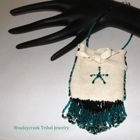 Beaded Deer Skin Tribal Wrist Medicine Bag With Fringe