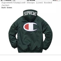 Supreme X Champion Sherpa Lined Hooded Jacket Green NEW *SMALL* *IN HAND*