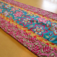 Bright Floral Table Runner , Teal And Red , Pink And Yellow , Spring Table Runner