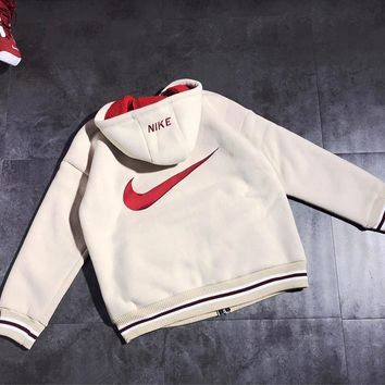 NIKE Winter Classic Fashion Women Men Lambs Wool Zipper Cardigan Jacket Coat White