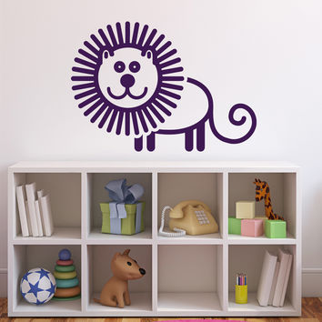 Wall Vinyl Sticker Decal Animated Image Cheerful Comic Lion Unique Gift (n536)
