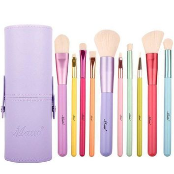 CREYXT3 Matto Makeup Brushes 10-Pieces Colorful Wood Handles Synthetic Hairs Makeup Brush Set with Cosmetic Brush Holder