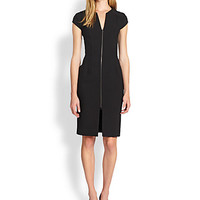 Zip-Front Stretch Crepe Dress