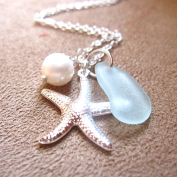 Seafoam Beachglass Starfish Necklace with swarovski pearl - Perfect nautical gift for bridesmaids in beach wedding FREE SHIPPING