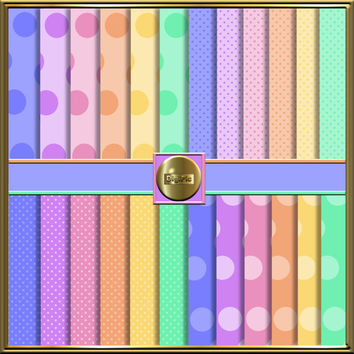 "SPECIAL OFFER Until 31st January Only, 24 Digital Pastel Polka Dot Scrapbook Papers, 12""x12"" 300Dpi Instant Download, Commercial Use OK"