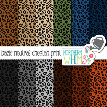 Neutral Cheetah Print Digital Paper – leopard scrapbook paper in grey, brown, tan, navy & olive - printable paper - commercial use