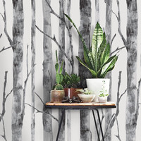 Modern Birch Tree Pattern PEEL & STICK Repositionable  Fabric Wallpaper