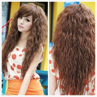 WigShow 2015 New Arrival Perruque Cheveux Naturel Synthetic Kinky Curly Long Women Hair Wigs Heat Resistent Hair Cosplay Wig+Cap