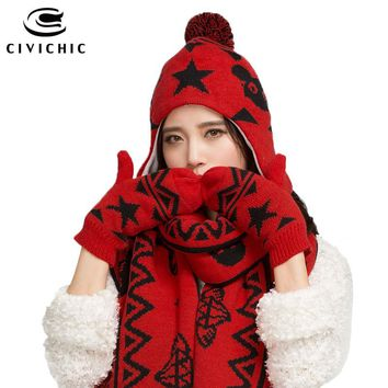 CIVICHIC Fashion Winter Mickey Warm Knit Scarf Hat Gloves 3 Piece Set Thicken Pompon Beanies Lovely Shawl Cute Headwear SH126