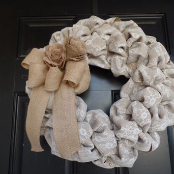 "Burlap and lace 18""  Wreath with burlap roses, burlap door wreath  burlap wall decor, wedding wreath, cottage style wreath"
