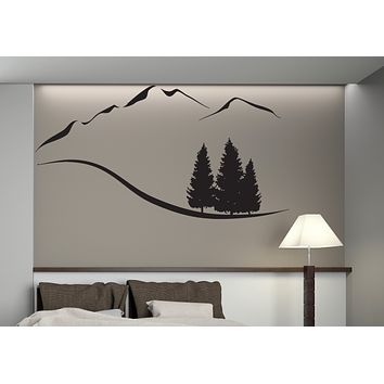 Vinyl Decal Wall Sticker Decal Mountain Trees Snowy Peaks Mountain Resort Wall Sticker (n442)