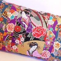pillow case cushion cover japanese geishas with flowers parasol fans blue purple black multicolor colorful japan