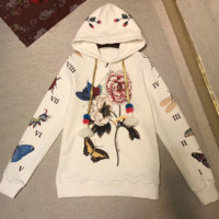 GUCCI Fashion Casual flower rose print sweater hoodie pullover I-AGG-CZDL