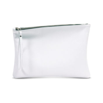White leather bride clutch, women evening bag, leather wristlet by Leah Lerner