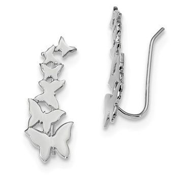 Sterling Silver Rhodium-Plated Butterflies Ear-Climber Earrings, 24mm