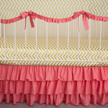 Coral and Gold Metallic Chevron  Bumperless  Baby Girl Crib Cot Bedding