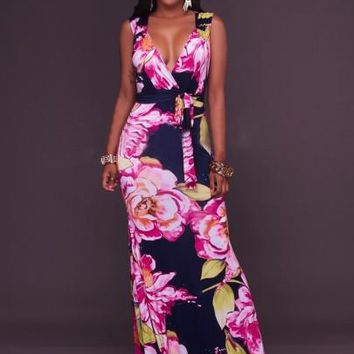 """ASYM"" V Neck Lace up Women's Pink Print Maxi Dress"