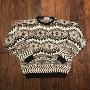 Vintage Vintage 1990s 90s Cream / Teal / Black Southwestern Style Print Sweater Made In Italy Mens Size Small Size S $60