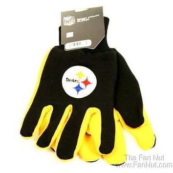 Pittsburgh Steelers Two Tone Pair GRIP Gloves Sport Work Utility Football