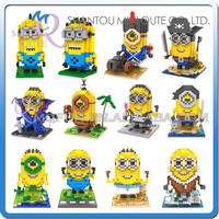 Mini Qute WTOYW Kawaii LOZ Despicable Me 2 Ancient Egypt Minion plastic building cartoon model block brick educational toy