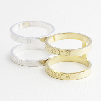 Double band ring , Personalized Latitude Longitude Jewelry , Double bar Coordinates Ring , Location Ring ,H ring