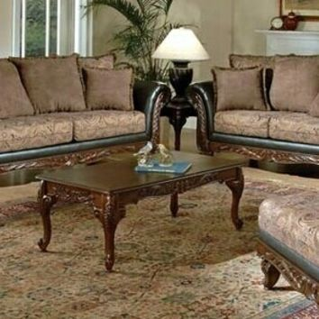 2 pc Serta upholstery Fairfax collection two tone upholstery chocolate / Raisin sofa and love seat with wood trim