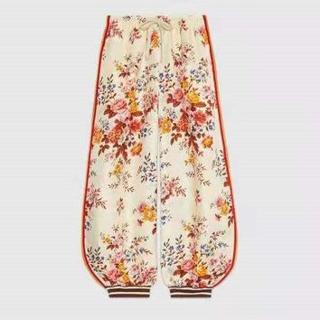 """GUCCI "" Women Casual Fashion Floral Early Autumn Reversible Ribbon Pants Letter Bell-bottomed Pants Stripe Trousers"
