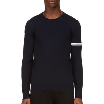 Giuliano Fujiwara Navy Striped Sleeve Sweater