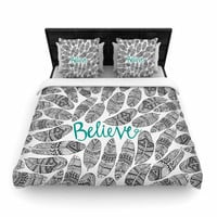 "Pom Graphic Design ""Believe"" Gray Teal Woven Duvet Cover"