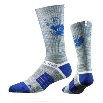 Strideline 2.0 Heather Grey Jayhawk, Kansas GreyBlueWhite Crew Socks