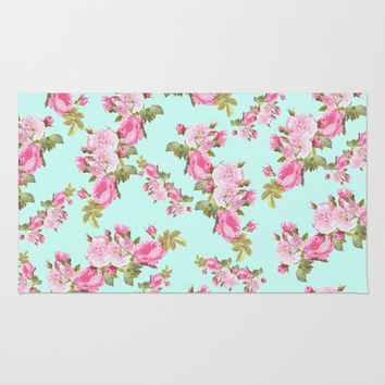 Pink & Mint Green Floral Rug by Whimsy Romance & Fun