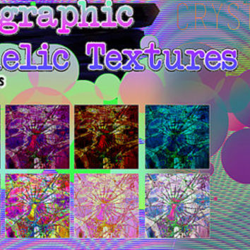 10 Holographic Textures Trippy Paper Design Digital Download Print
