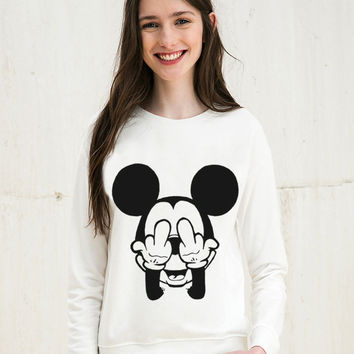 Mouse Cartoon Cute Print 2016 Casual Sweatshirt Women Hoodies Long Sleeve Kawaii Clothes Tracksuit Moletom White Sudaderas Mujer